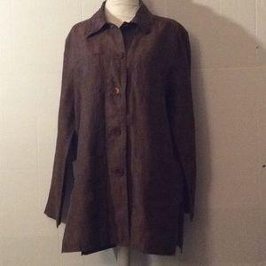 Bloomingdales petite Brown L/S linen tunic #8P